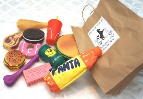 HUNGRY HOUNDS DELICIOUS DOG TAKEAWAY TREAT TOYS VINYL SQUEAKY DOG TOY SELECTION